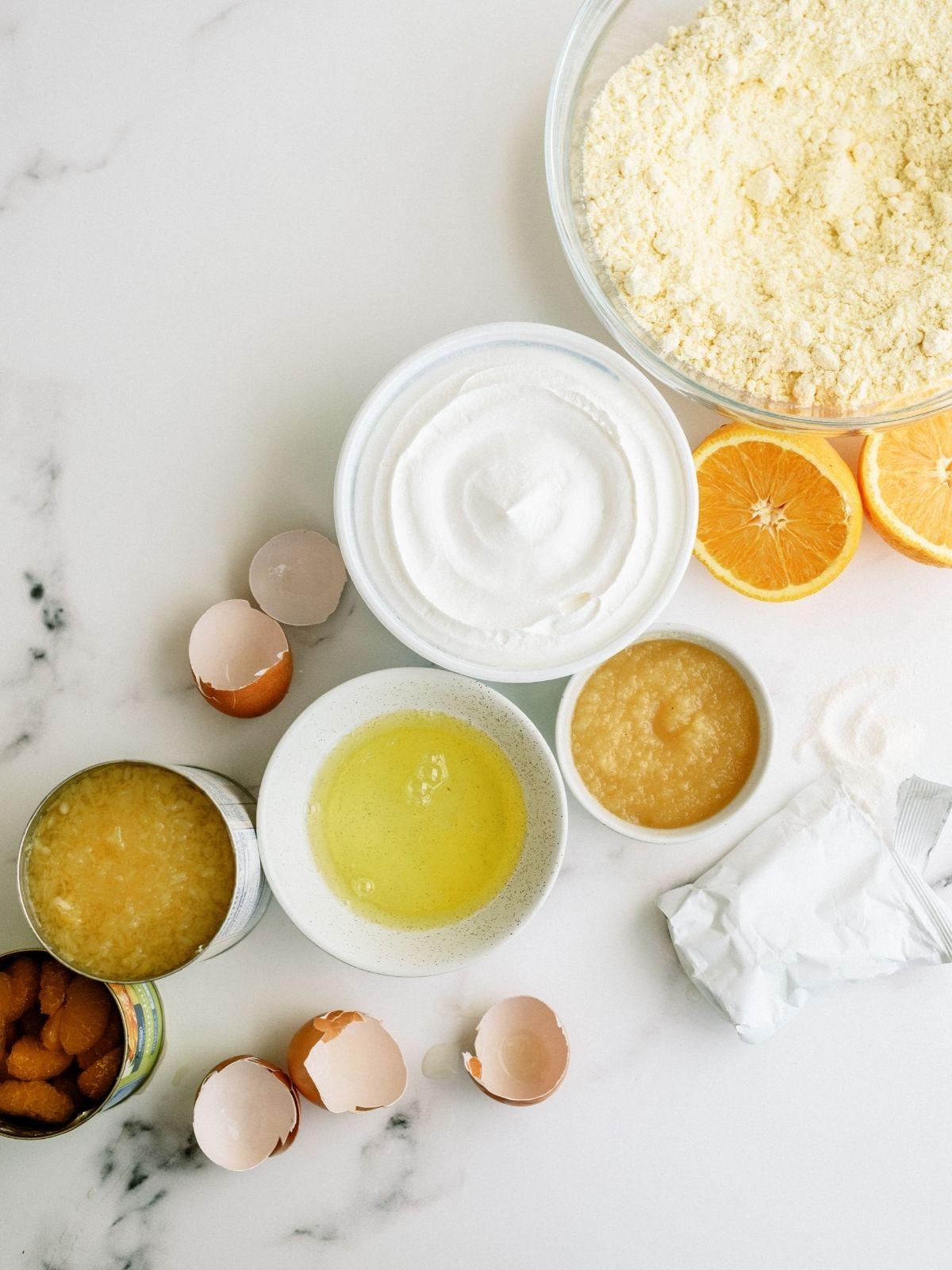 Ingredients for Pineapple Orange Cake Recipe (Pig Pickin' Cake)