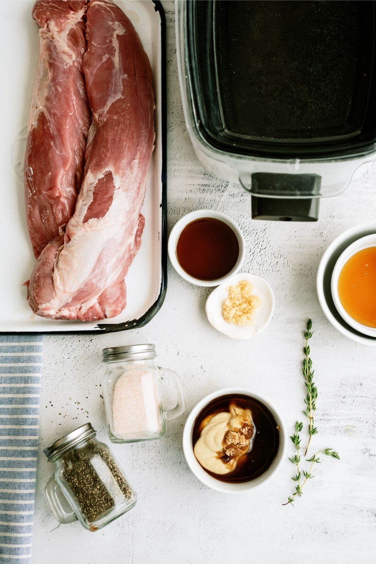 Ingredients for Slow Cooker Maple and Brown Sugar Pork Tenderloin