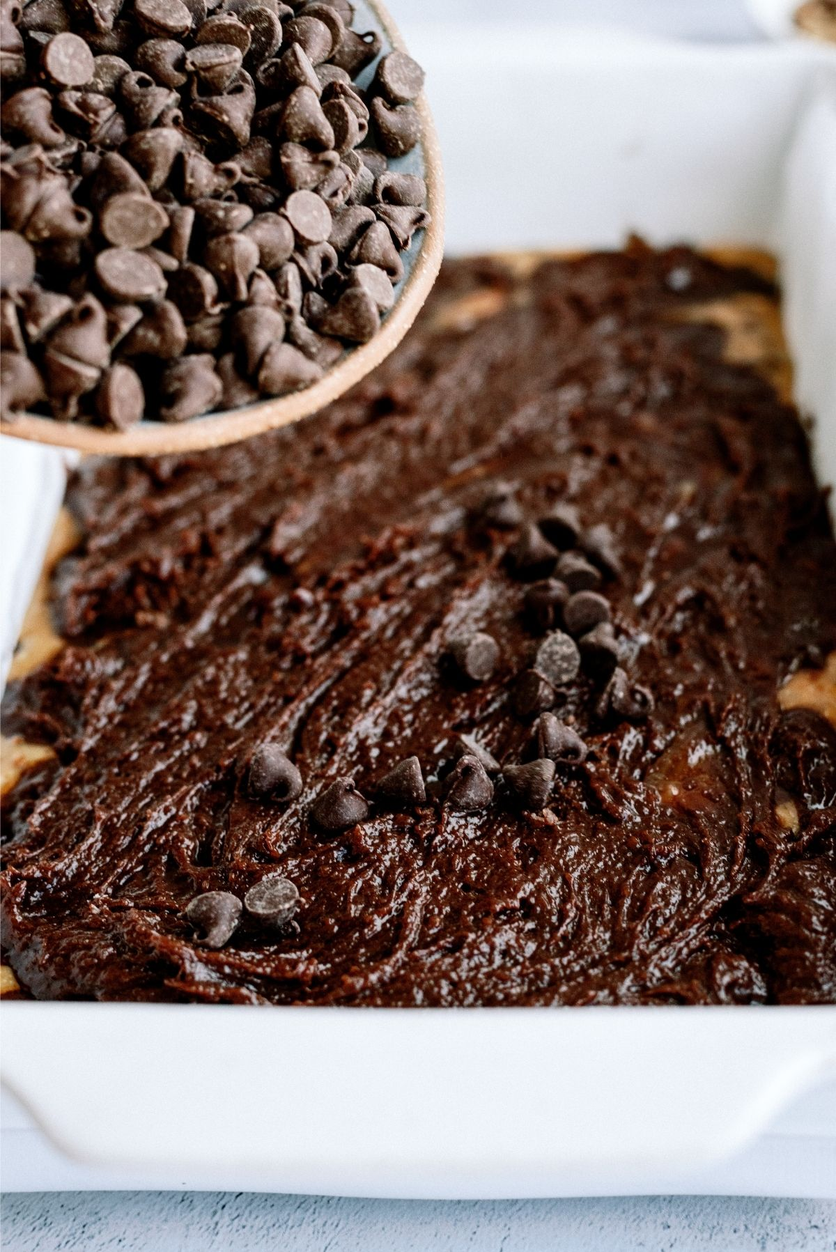 Sprinkle Chocolate Chips on top of top layer