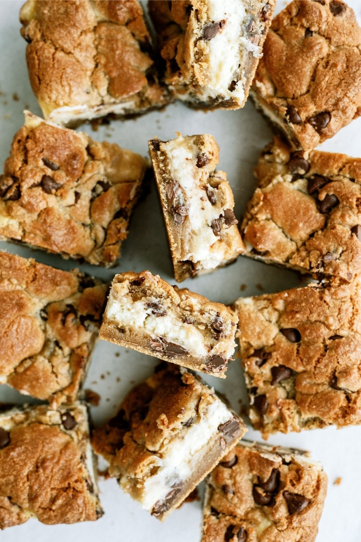 Chocolate Chip Cheesecake Blondies cut into squares