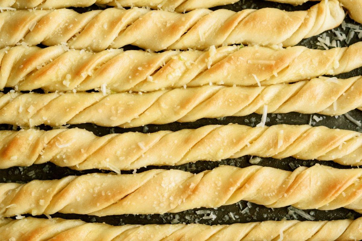 Homemade Pizza Factory Breadsticks on a baking sheet