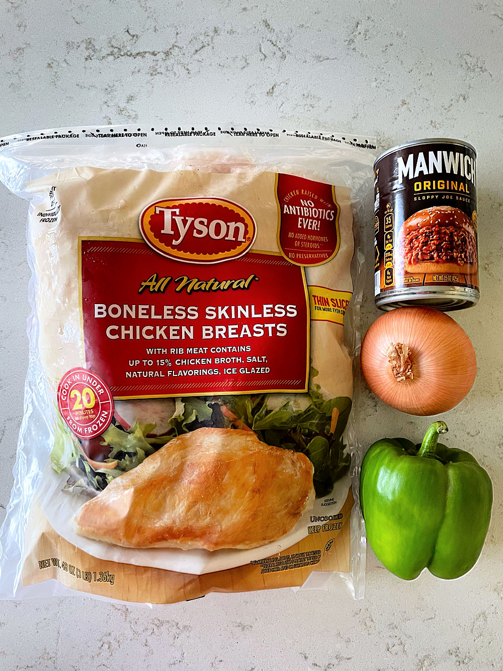 Ingredients to make Instant Pot Chicken Sloppy Joes Recipe
