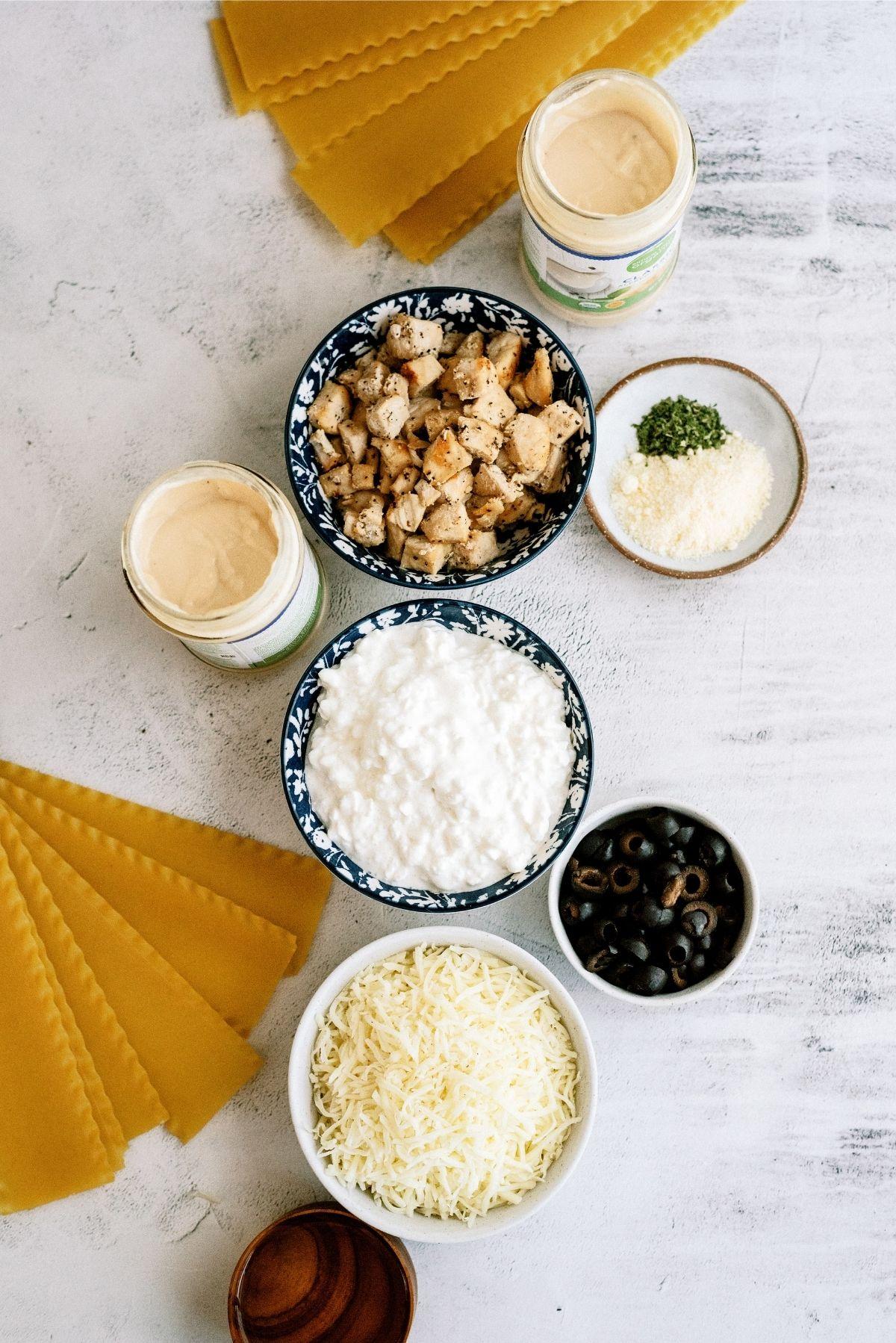 Ingredients for Slow Cooker Chicken Alfredo Lasagna Recipe