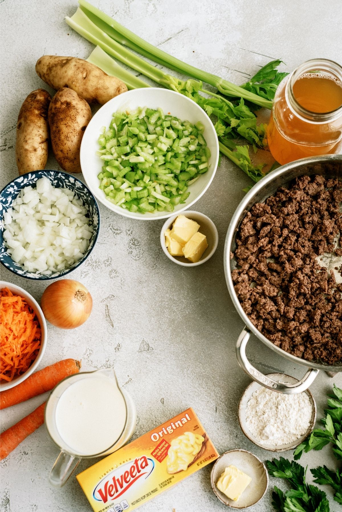 Ingredients for The Best Cheeseburger Soup Recipe (Cheesy Ground Beef Soup)