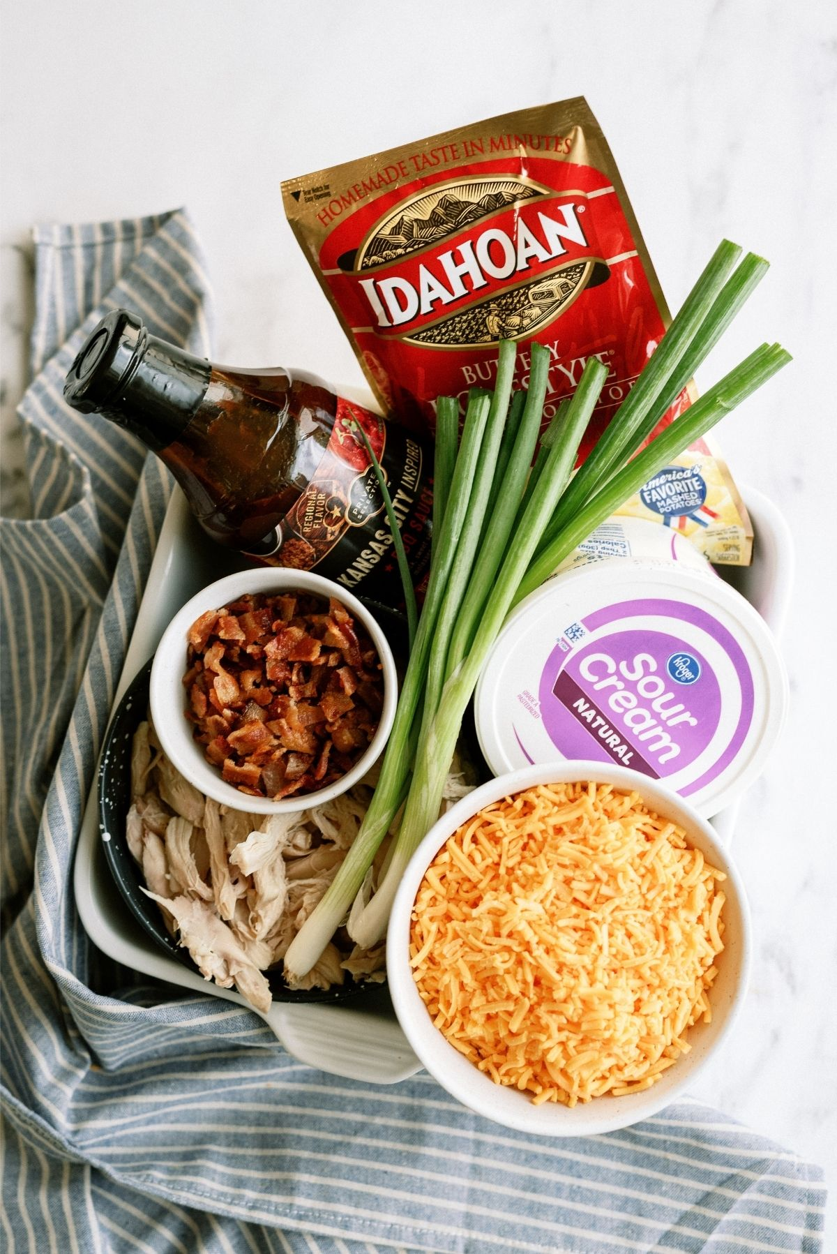 Ingredients for BBQ Chicken and Potato Casserole