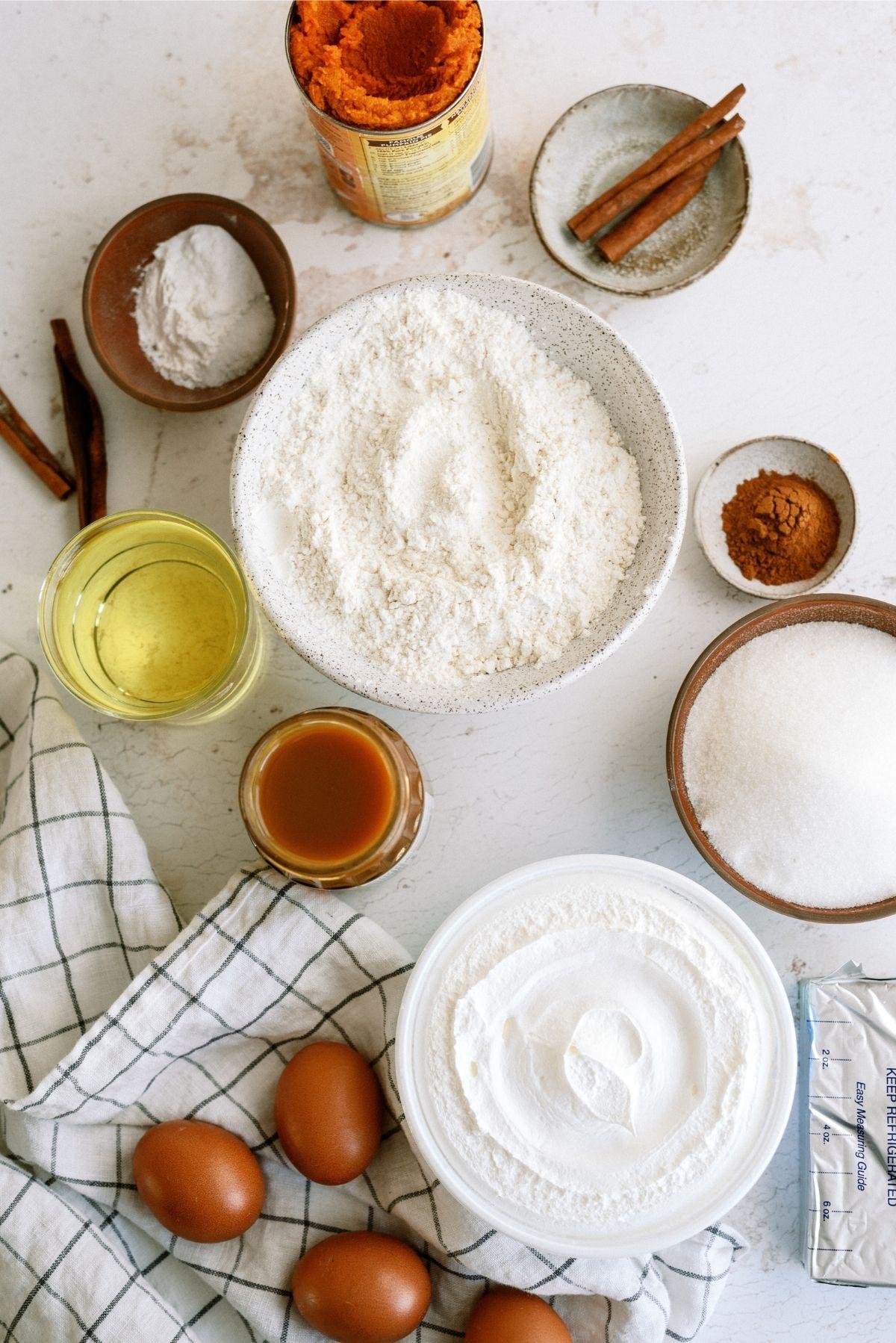 Ingredients for Caramel Pumpkin Poke Cake
