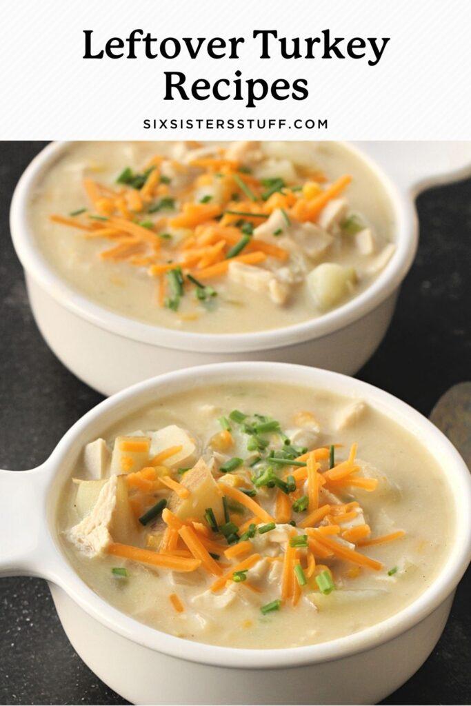 turkey chowder in two bowls