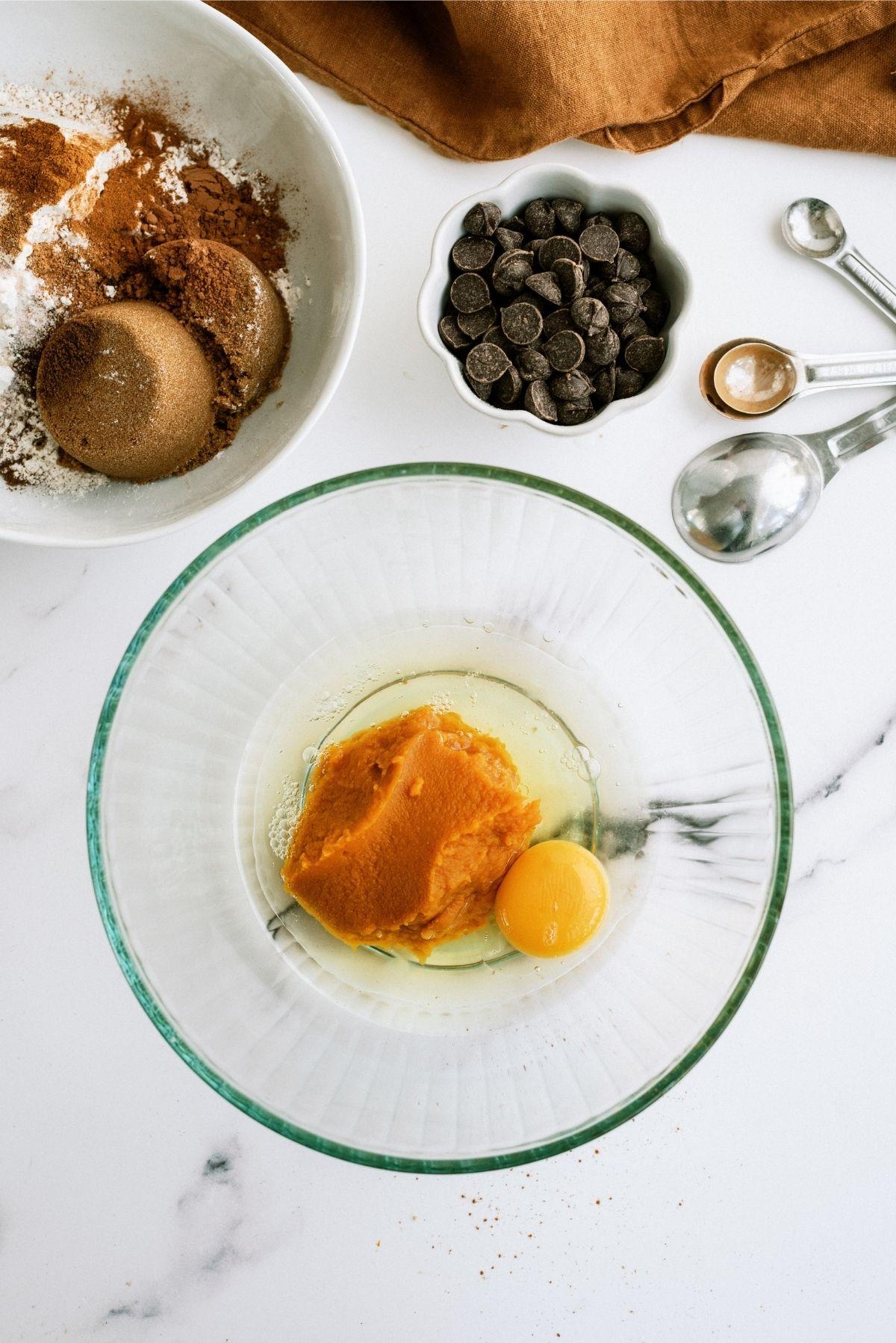 Ingredients for Pumpkin Chocolate Chip Brownies