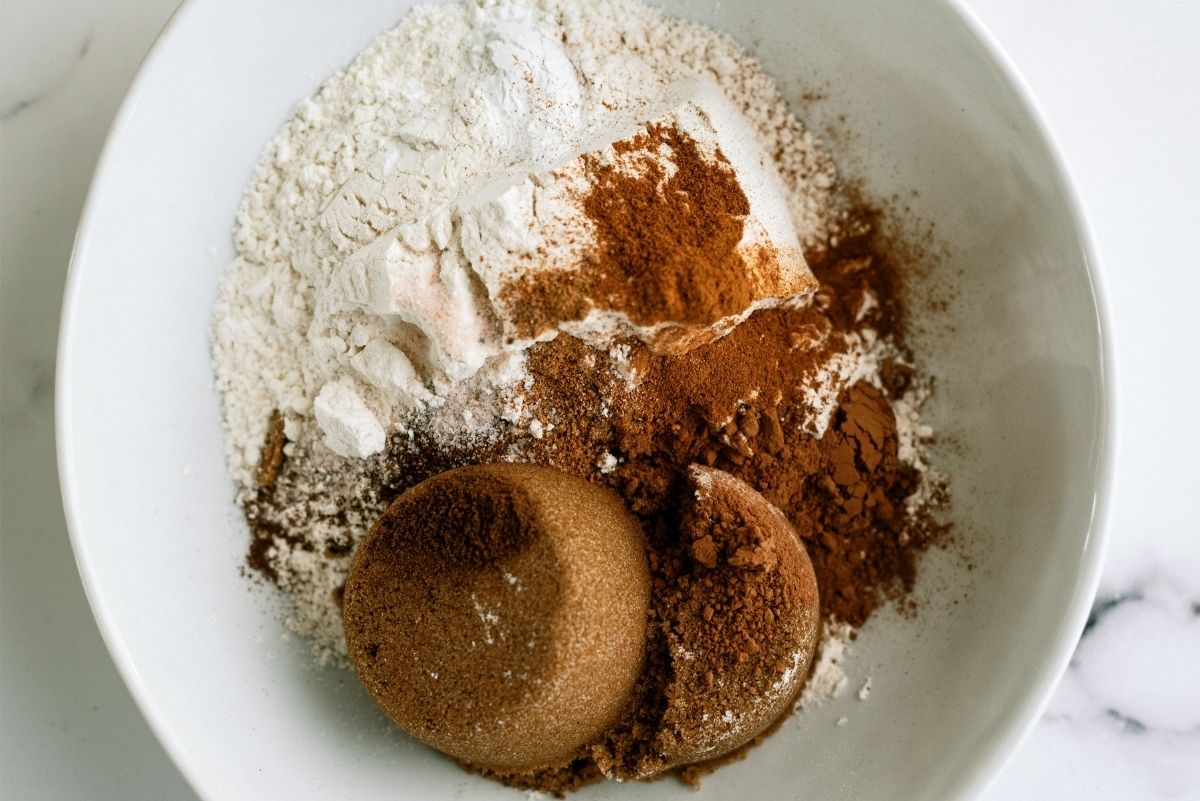 Dry Ingredients for Pumpkin Chocolate Chip Brownies in a mixing bowl