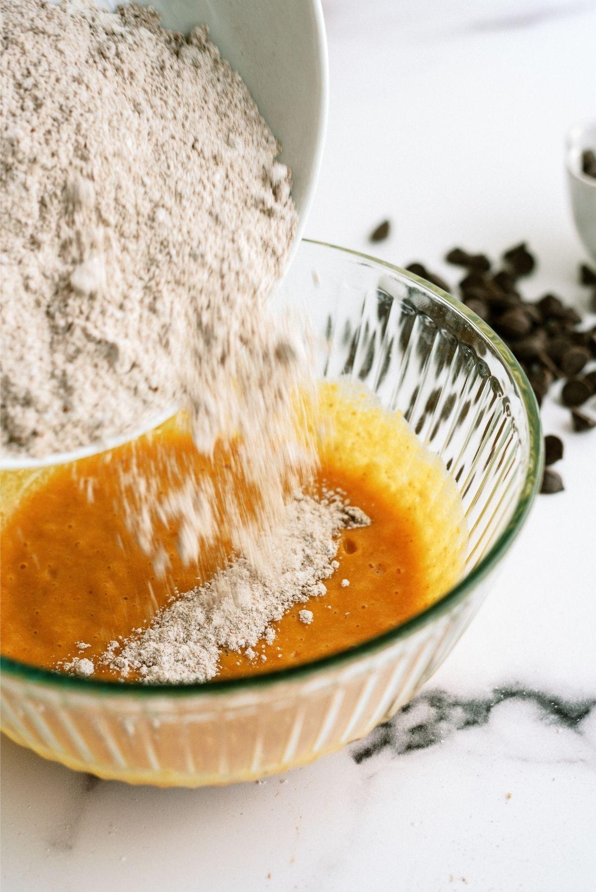 Adding dry ingredients into wet ingredients