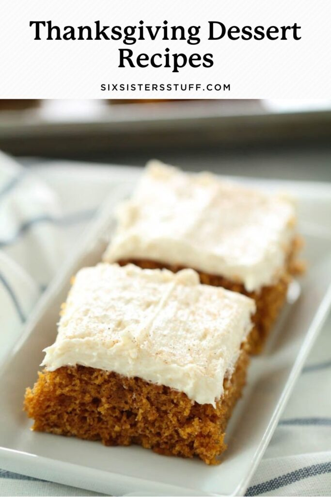 pumpkin sheet cake with thick white frosting on top